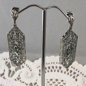 Emerald 925 Silver Art Deco Filigree Drop Earrings